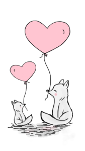 Fox with heart balloons